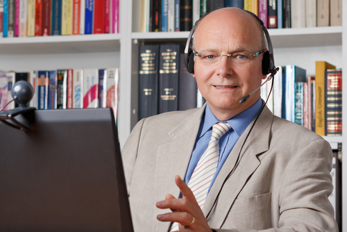 Business man using Voice over IP